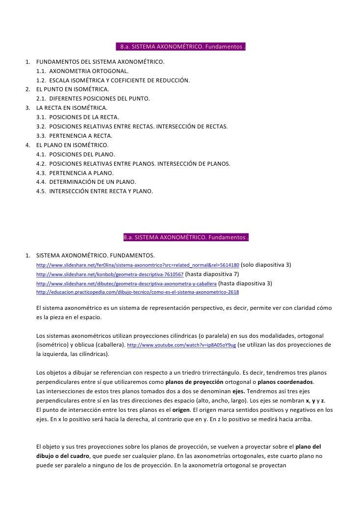 8.a. SISTEMA AXONOMÉTRICO. Fundamentos .1. FUNDAMENTOS DEL SISTEMA AXONOMÉTRICO.   1.1. AXONOMETRIA ORTOGONAL.   1.2. ESCA...