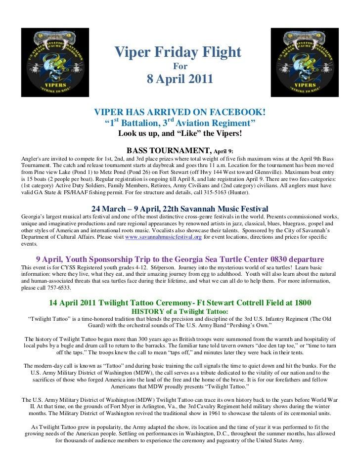 8  April 11  Viper  Friday  Flight 2
