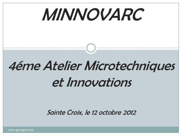 MINNOVARC4éme Atelier Microtechniques      et Innovations                   Sainte Croix, le 12 octobre 2012www.aprogsys.com