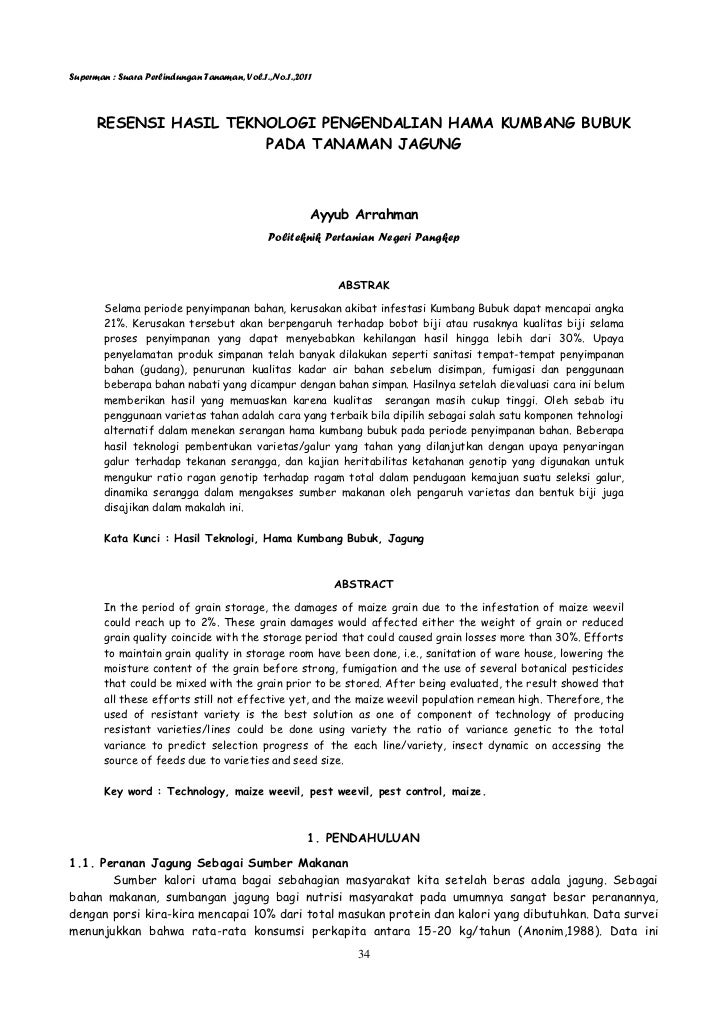 Superman : Suara Perlindungan Tanaman, Vol.1.,No.1.,2011      RESENSI HASIL TEKNOLOGI PENGENDALIAN HAMA KUMBANG BUBUK     ...
