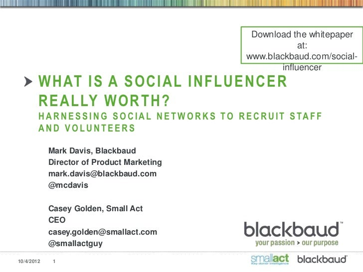 Mark Davis - What a Social Influencer is Really Worth