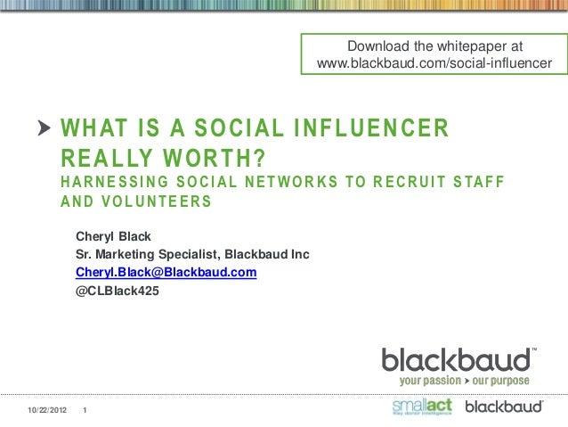 Cheryl Black - What Is a Social Influencer Really Worth