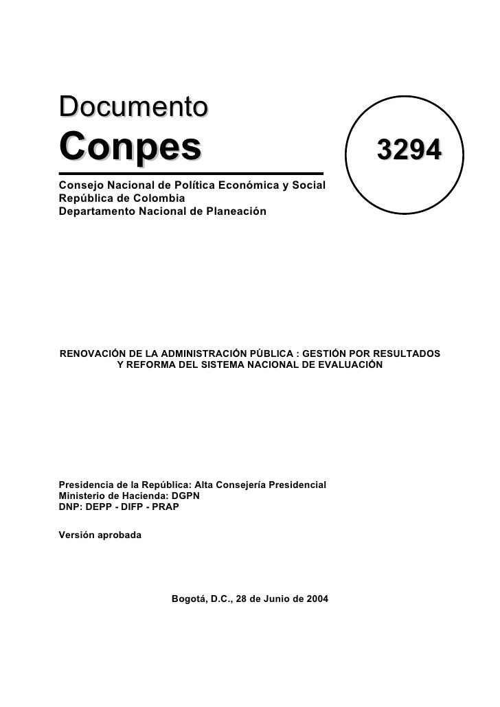 Documento Conpes                                                      3294 Consejo Nacional de Política Económica y Social...