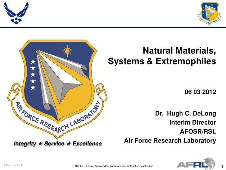 De Long - Natural Materials, Systems and Extremophiles - Spring Review 2012
