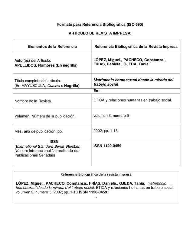 Formato para Referencia Bibliográfica (ISO 690) ARTÍCULO DE REVISTA IMPRESA: Elementos de la Referencia Referencia Bibliog...