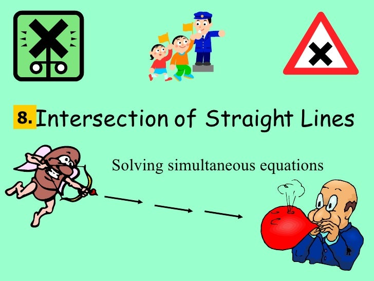 Intersection of Straight Lines Solving simultaneous equations 8.