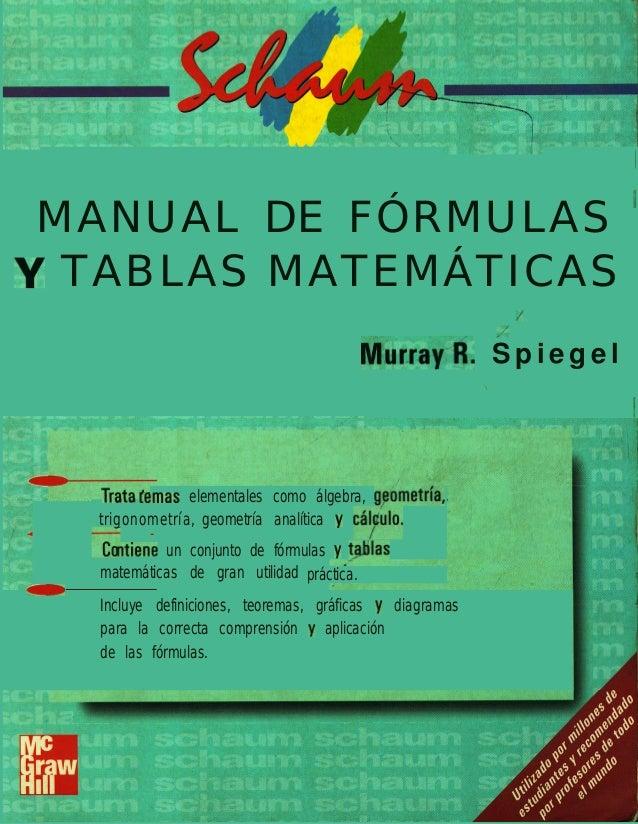 """/MANUAL DE FÓRMULAS 'Y TABLAS MATEMÁTICAS I/,.'Mur.rayA. S p i e g e l"""".dmas elementales como álgebra, g,cometría,trigonom..."""