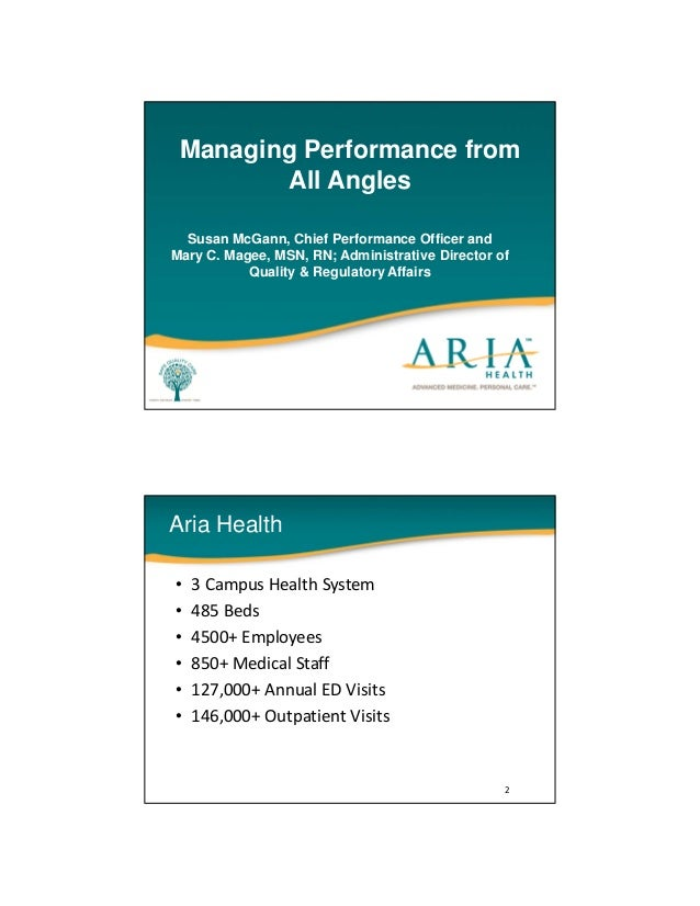 Managing Performance fromAll AnglesSusan McGann, Chief Performance Officer andMary C. Magee, MSN, RN; Administrative Direc...