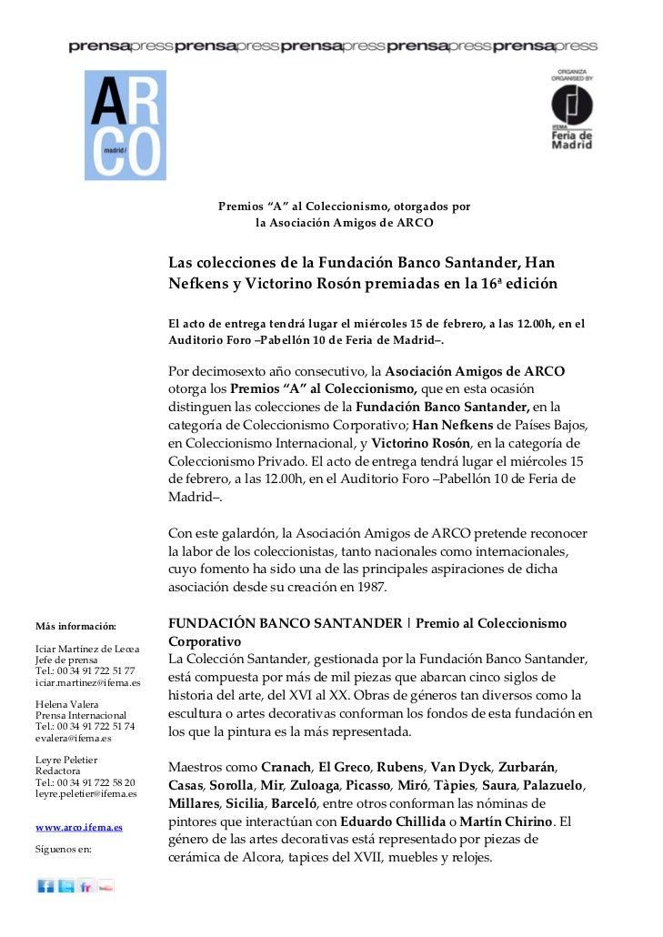 """Premios""""A""""alColeccionismo,otorgadospor                                          laAsociaciónAmigosdeARCO       ..."""