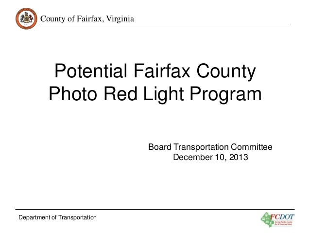 Potential Fairfax County Photo Red Light Program
