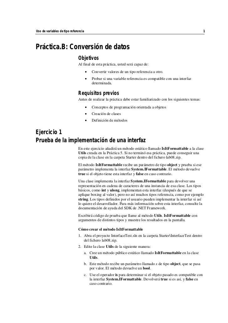 Uso de variables de tipo referencia                                                                              1    Prác...