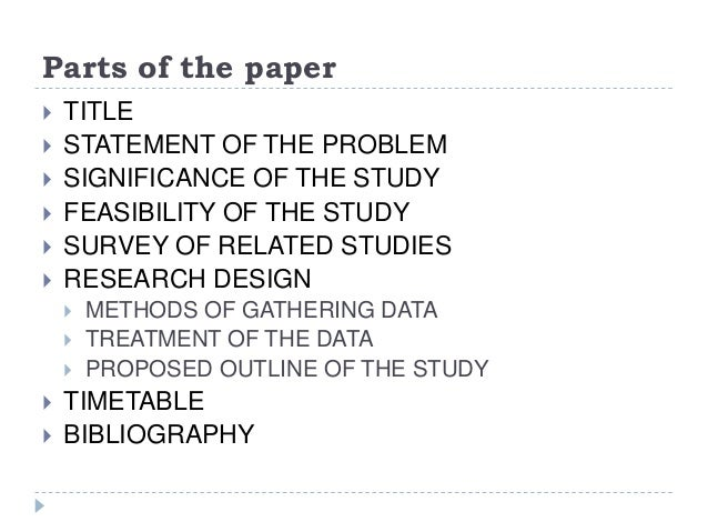 Parts of survey research paper