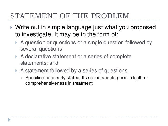 Sample of statement of the problem in a research paper
