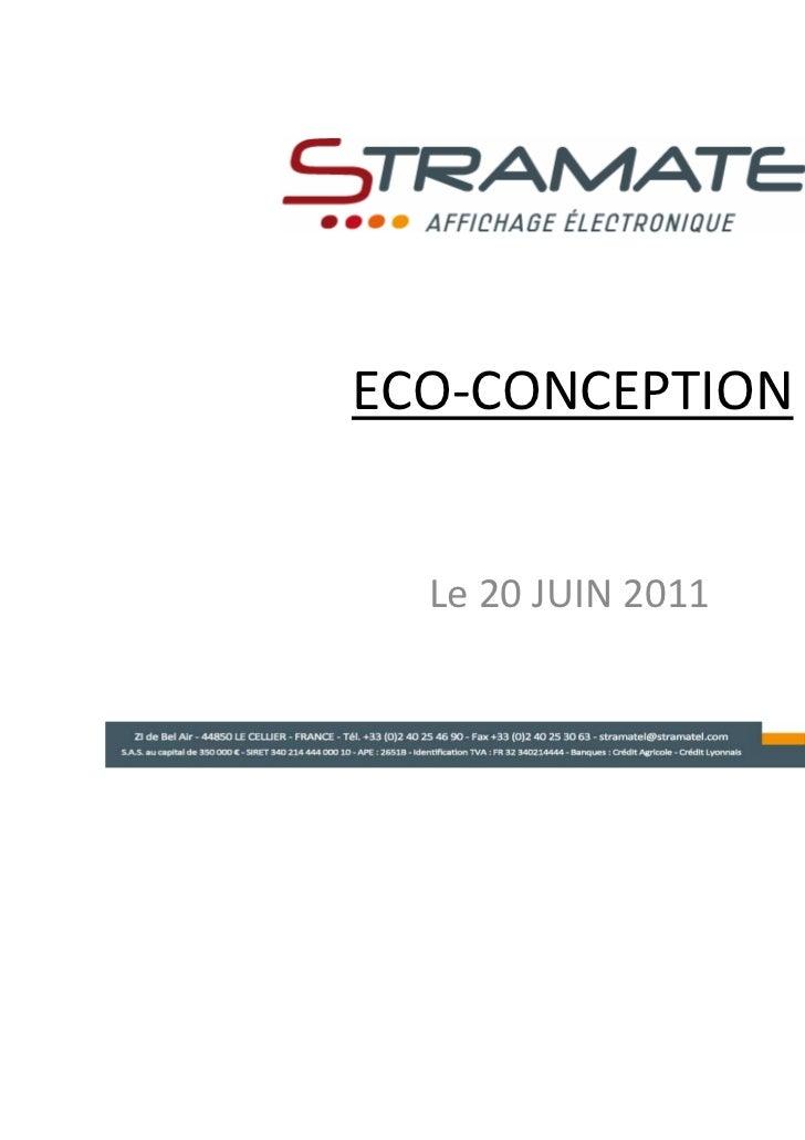ECO-CONCEPTION  Le 20 JUIN 2011