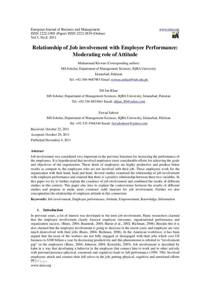 8.relationship of job involvement with employee performance -77-85