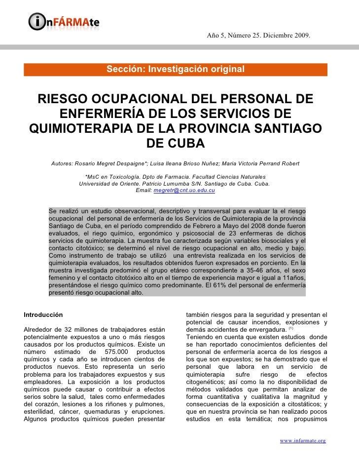 Año 5, Número 25. Diciembre 2009.                                 Sección: Investigación original     RIESGO OCUPACIONAL D...