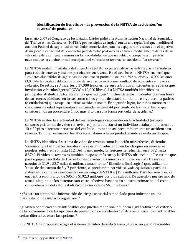 """Identificación de Beneficios - La prevención de la NHTSA de accidentes """"en reversa"""" de peatones En el año 2007 el Congreso..."""
