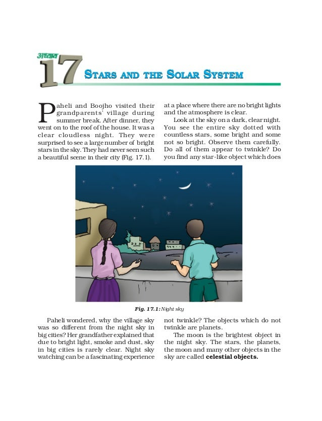 STARS         AND THE          SOLAR SYSTEMP       aheli and Boojho visited their           at a place where there are no ...