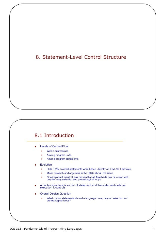 8 statement-level control structure