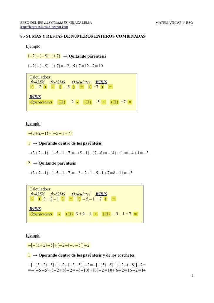 8.- Sumas y restas de números enteros combinadas