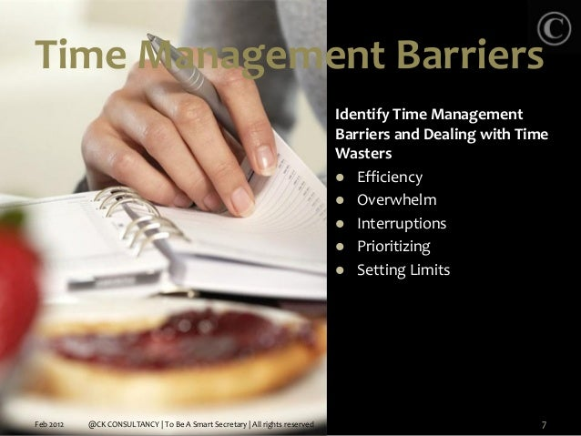 Barriers to efficient time management