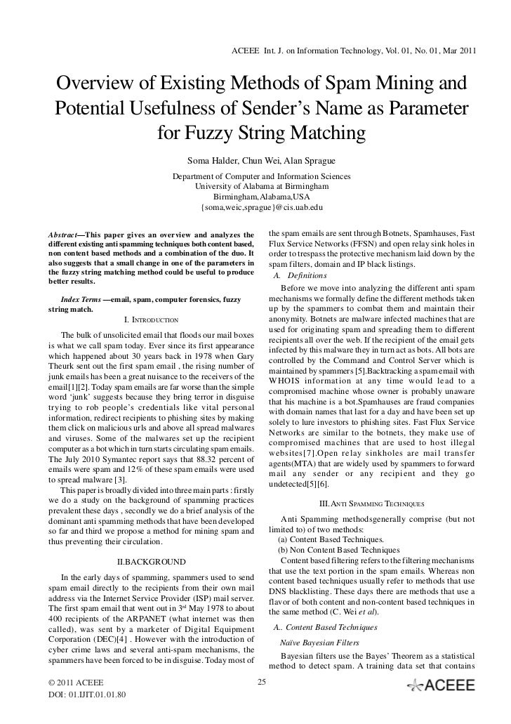 ACEEE Int. J. on Information Technology, Vol. 01, No. 01, Mar 2011 Overview of Existing Methods of Spam Mining and Potenti...