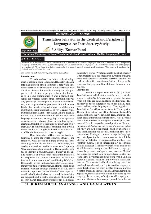 80 RESEARCH ANALYSIS AND EVALUATION International Indexed & Refereed Research Journal, ISSN 0975-3486, (Print), E- ISSN -2...
