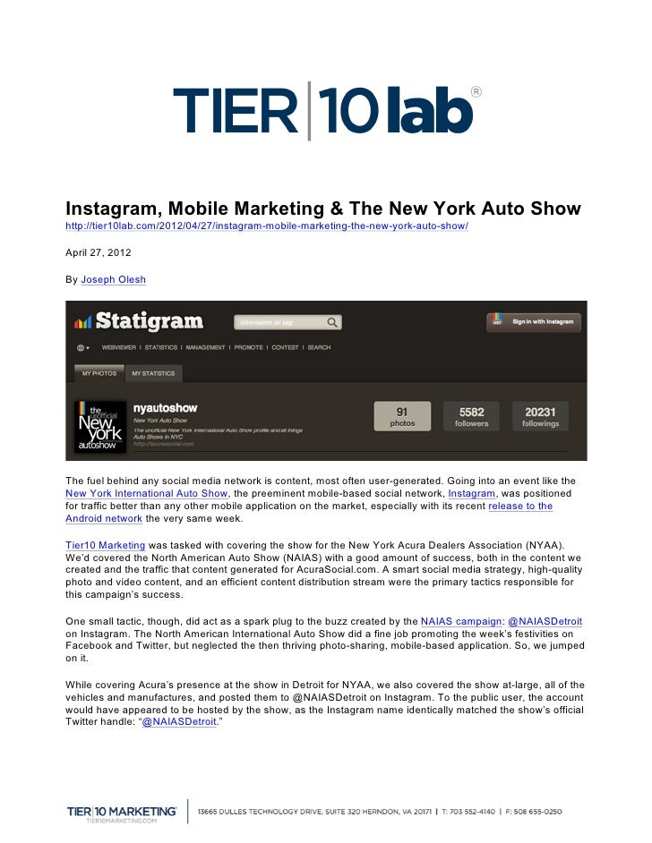 Instagram, Mobile Marketing & The New York Auto Show