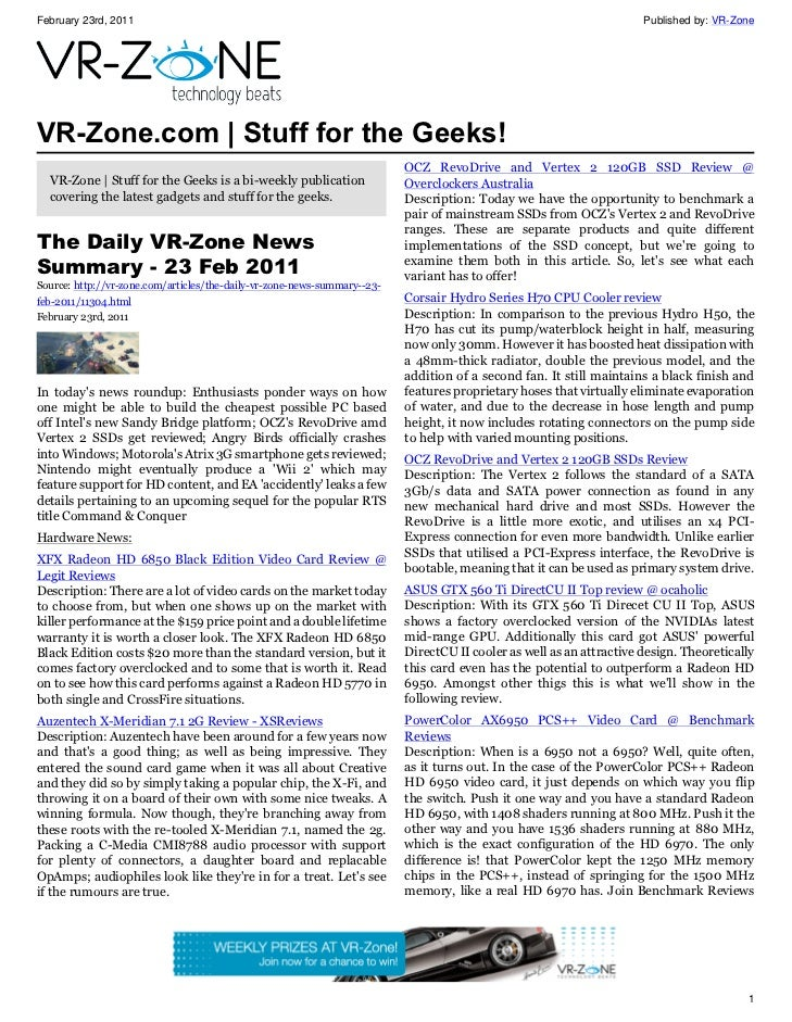 VR-Zone Technology News | Stuff for the Geeks! Issue #5