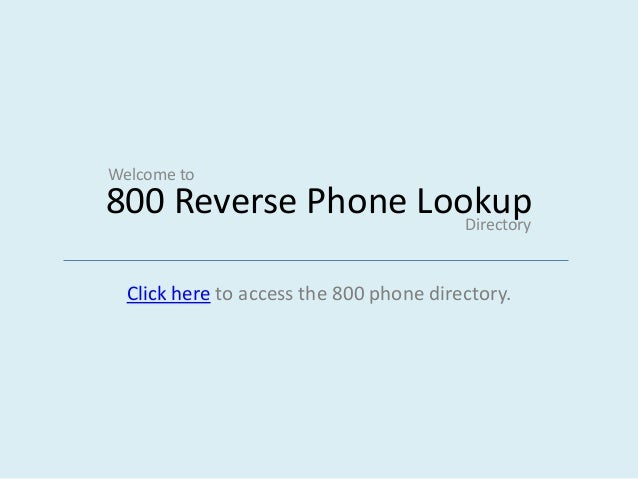 Reverse 800 phone directory free