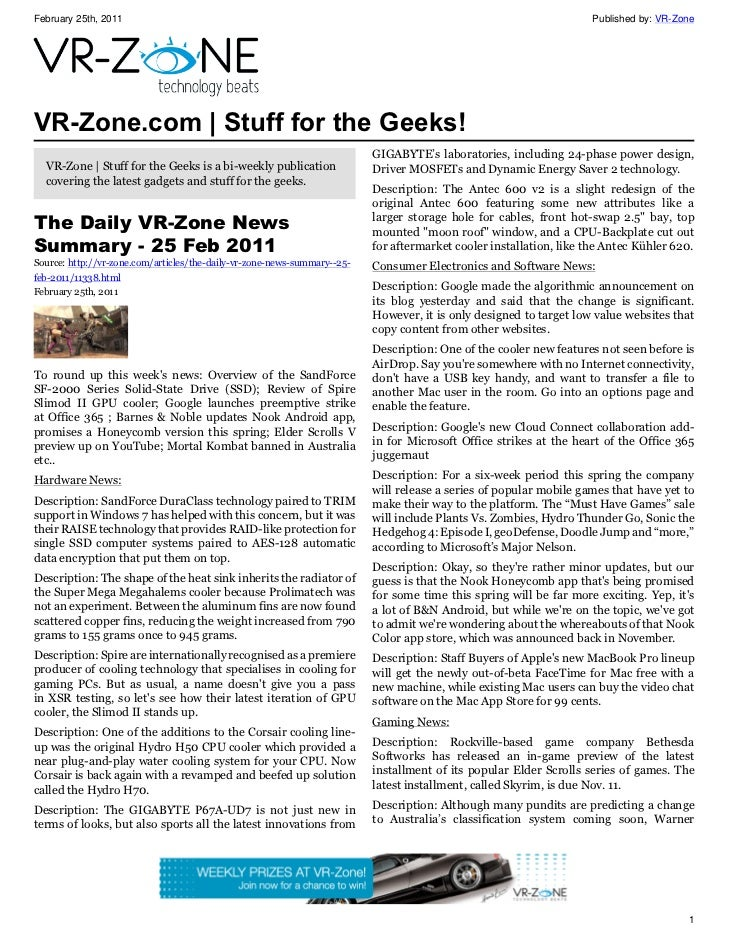 VR-Zone Technology News | Stuff for the Geeks! Issue #6