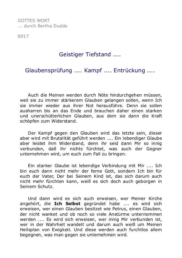 GOTTES WORT ... durch Bertha Dudde 8017 Geistiger Tiefstand .... Glaubensprüfung .... Kampf .... Entrückung .... Auch die ...