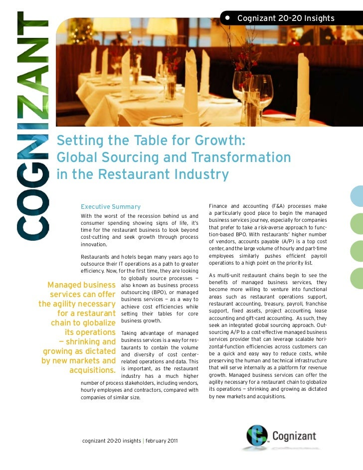 •     Cognizant 20-20 Insights       Setting the Table for Growth:       Global Sourcing and Transformation       in the R...