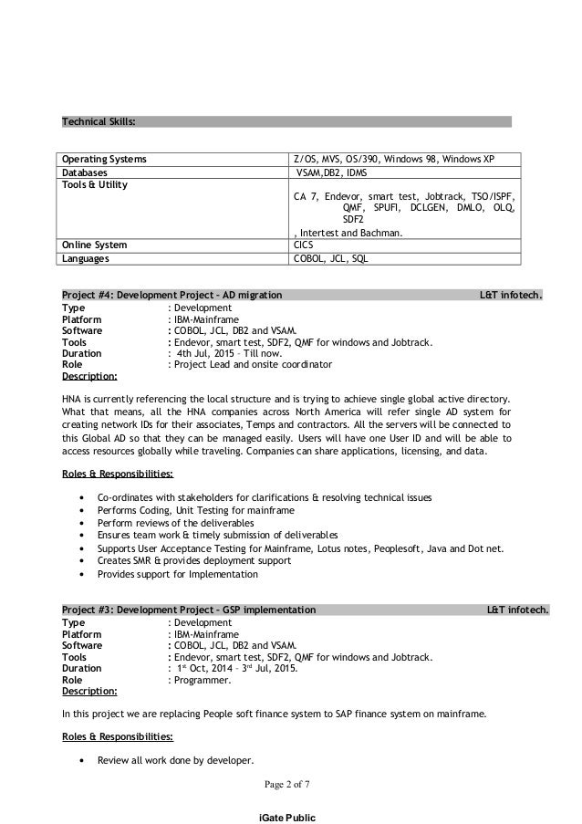 mainframe cobol developer resume 28 images