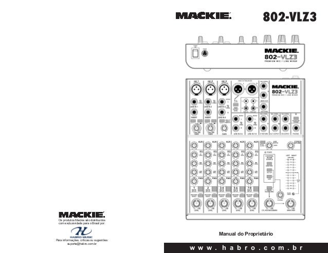 Manual do mixer Mackie 802 VLZ3 (PORTUGUÊS)