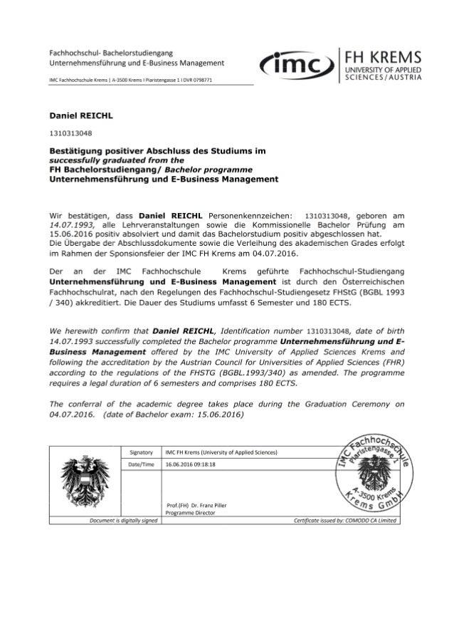 Leistungsnachweis IMC FH Krems