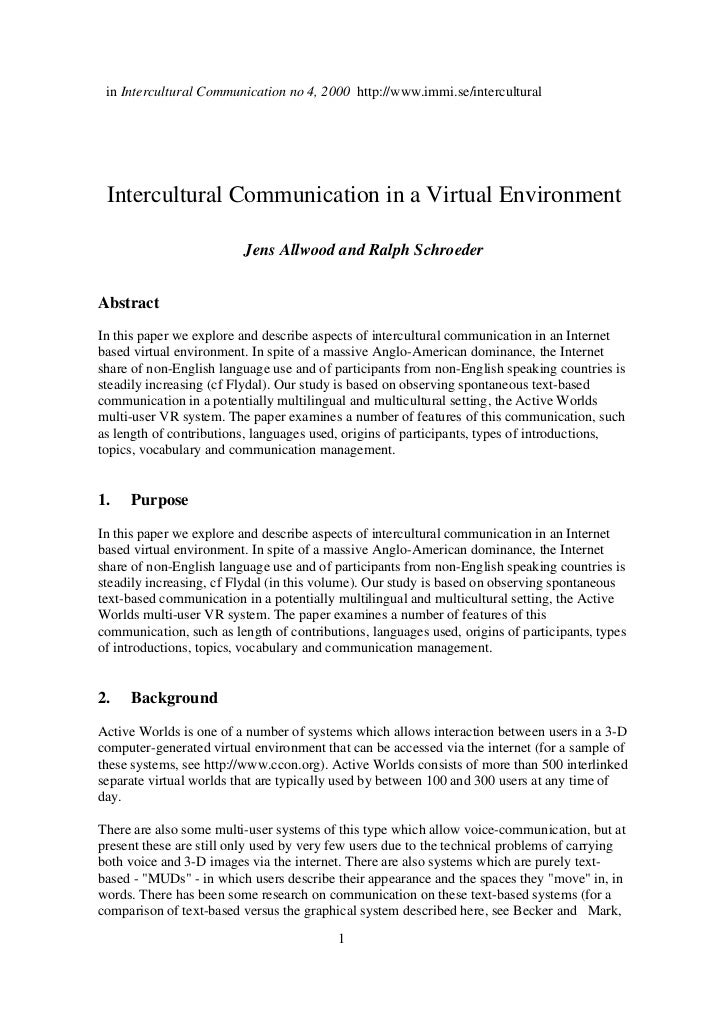 in Intercultural Communication no 4, 2000 http://www.immi.se/intercultural Intercultural Communication in a Virtual Enviro...