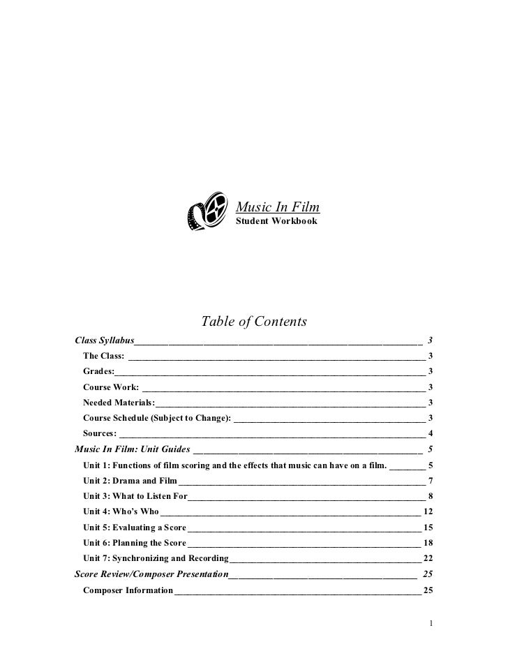 Music In Film                                        Student Workbook                               Table of ContentsClass...