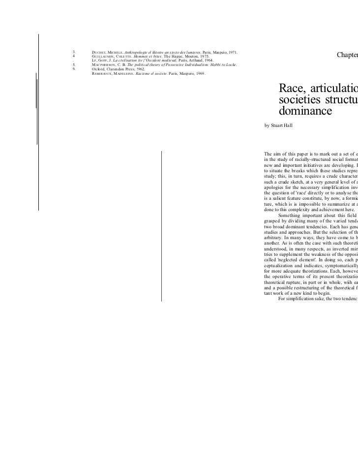 Race, articulation and societies structured in dominance