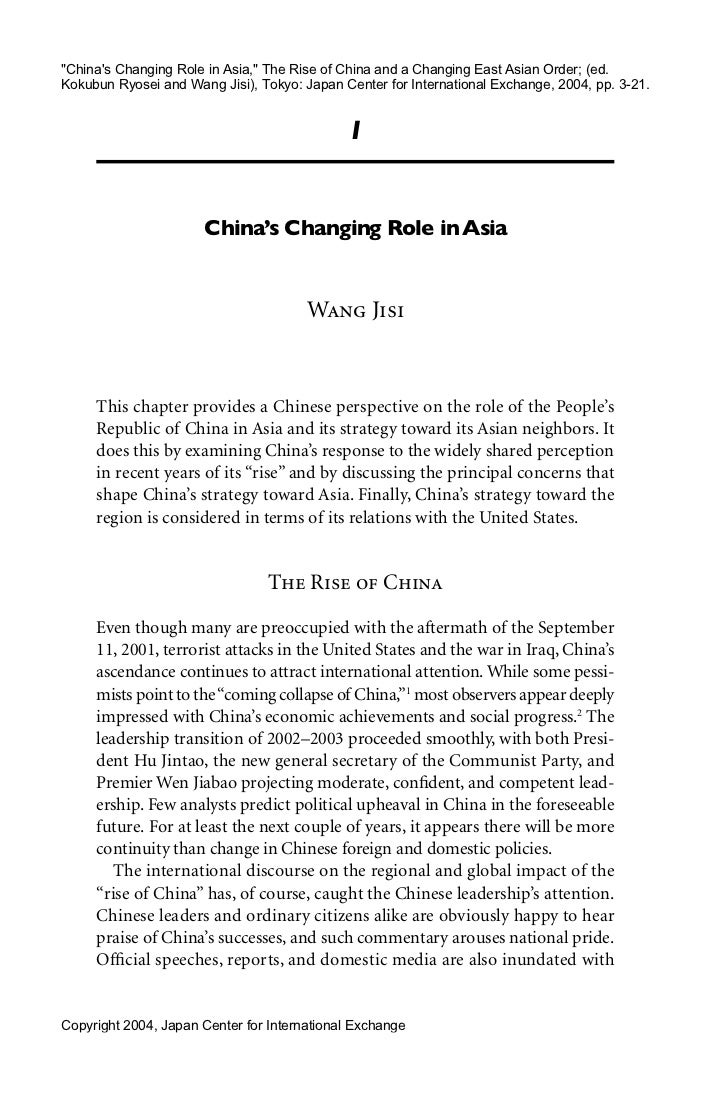 """""""Chinas Changing Role in Asia,"""" The Rise of China and a Changing East Asian Order; (ed.Kokubun Ryosei and Wang Jisi), Toky..."""