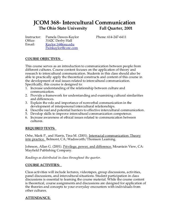 JCOM 368- Intercultural Communication         The Ohio State University                    Fall Quarter, 2001Instructor:  ...