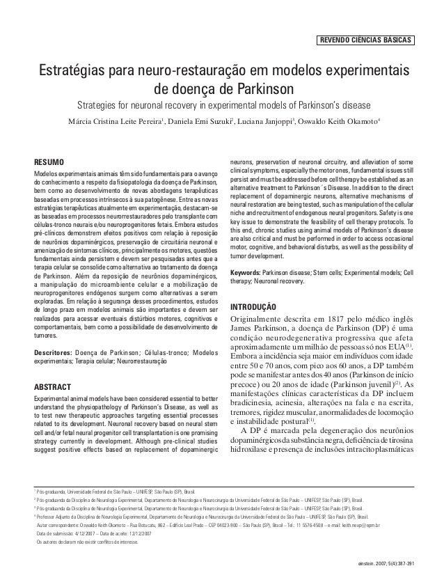 Estratégias para neuro-restauração em modelos experimentais de doença de Parkinson       387                              ...