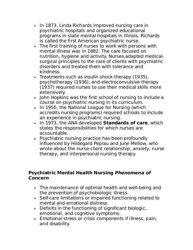 mental health nursing notes pdf