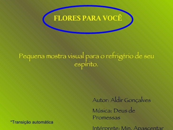 FLORES PARA VOCÊ Pequena mostra visual para o refrigério de seu espírito. Autor: Aldir Gonçalves Música: Deus de Promessas...
