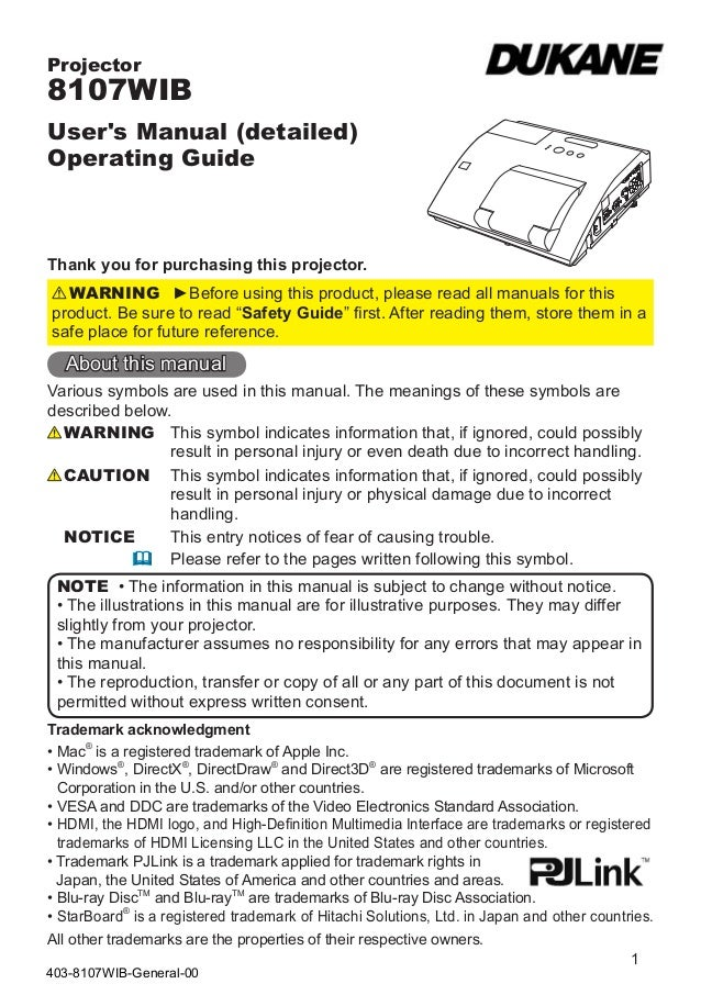 Projector8107WIBUsers Manual (detailed)Operating GuideThank you for purchasing this projector.  WARNING ►Before using this...