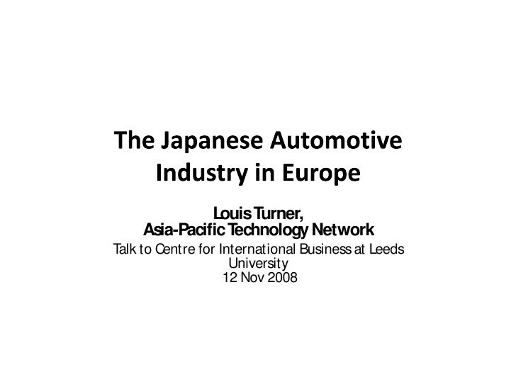 Japanese Automotive Investment in Europe
