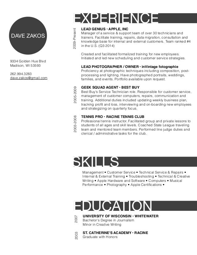 Resume for apple store retail
