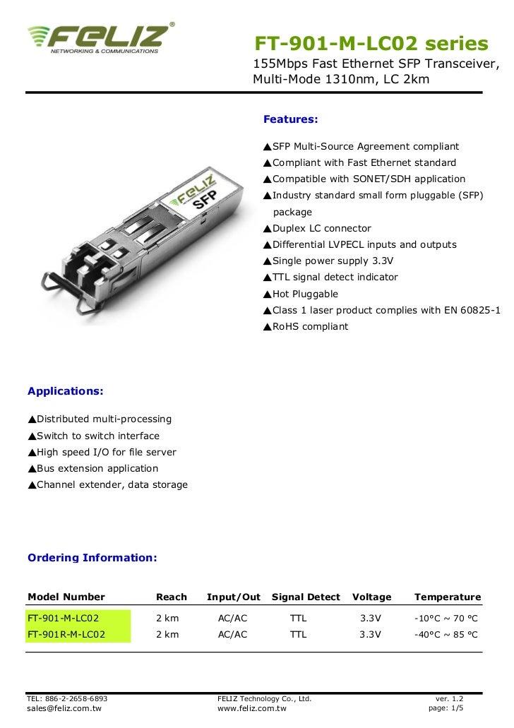 FT-901-M-LC02 series                                            155Mbps Fast Ethernet SFP Transceiver,                    ...