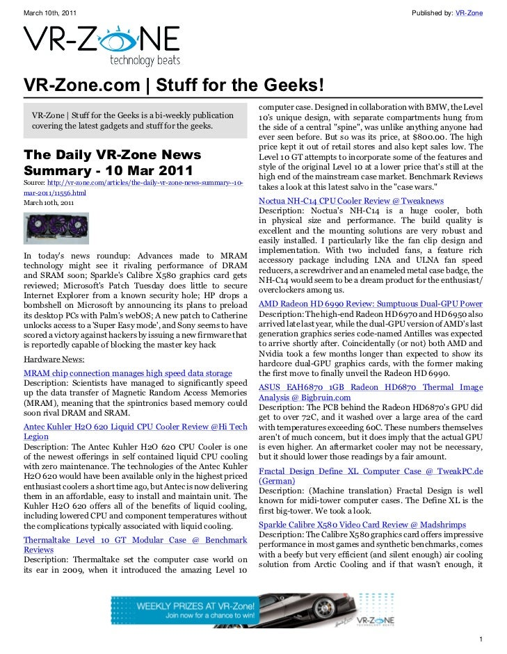 VR-Zone Technology News | Stuff for the Geeks! Issue #11