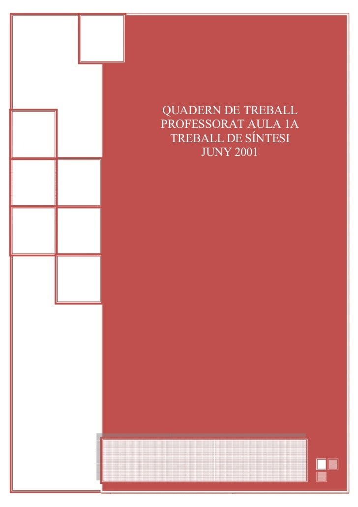 QUADERN DE TREBALLPROFESSORAT AULA 1A TREBALL DE SÍNTESI     JUNY 2001